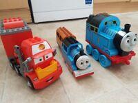 Mega blocks Thomas the tank engine and truck Mac from McQuinn (fits lego duplo)