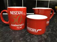 Retro Nescafe 50th Anniversary 1939-1989 Coffee Mug, Sugar Bowl & Milk Jug