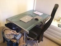 Lage Glass Office Desk in Good Condition