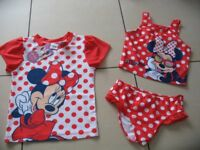 Minnie Mouse tankini 3 piece swimwear age 5-6 years