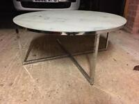 """Next """"Novaro"""" Marble Effect Glass and Chrome Round Coffee Table. RRP £130"""