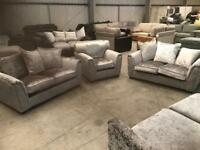 Brand new 2 + 2 + 1 silver crushed velvet sofa suite