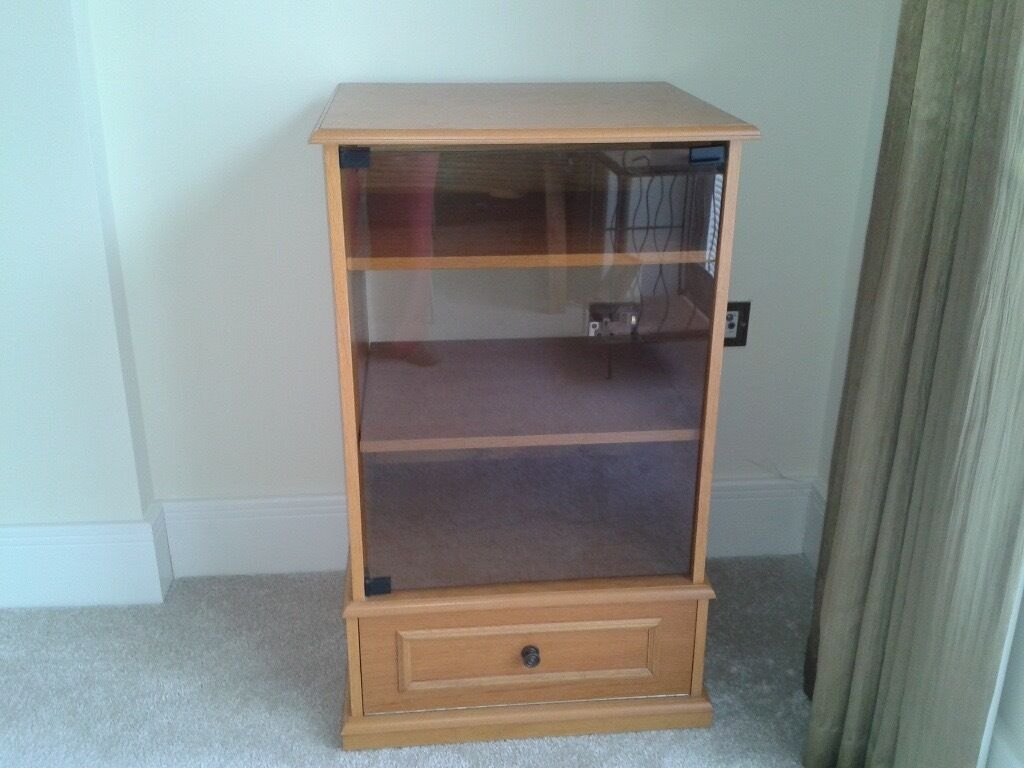 Hi Fi Stereo Cabinet In Beech With Glass Door In