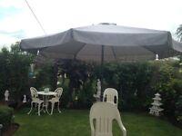 Large grey wind up garden umbrella hardly used