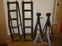 Car Ramps + 4 Axle Stands