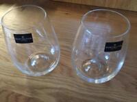 2 x Dartington crystal stemless wine glasses Brand New