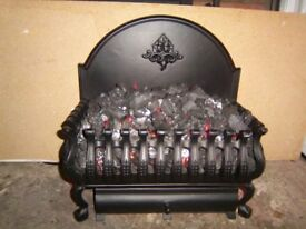 Coal effect electric fire with real coals.