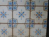 Aged Chateau Lotus blue floor tiles