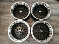 "Used, ALLOYS 18"" INCH BBS LM STYLE 5X100 ALLOY WHEELS BLACK VW VOLKSWAGEN GOLF MK3 & MK4 VR6 GTI R32 for sale  Barking, London"