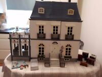 Fully furnished Dolls House with people, lights and conservatory