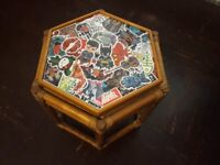 Small side table sticker bomb decoupage with superheroes kids furniture