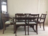 6-8 extendible dining table and chairs