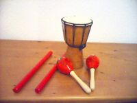 Djembe drums plus various percussion instruments