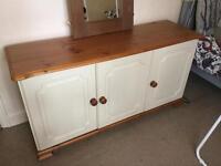 Honey pine effect & cream cupboards / sideboard