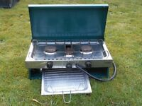 Camping Gas Stove, Gelert. 2 ring, grill and grillpan. Also gas bottle. Very good condition.