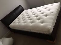 Double Bed Leather headboard and frame expensive pocket sprung mattress