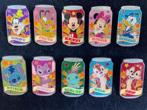 HKDL Disney Soda Can Mystery Tin Set 10 Pin (Stitch Scrump Chip Dale Donald Lot)