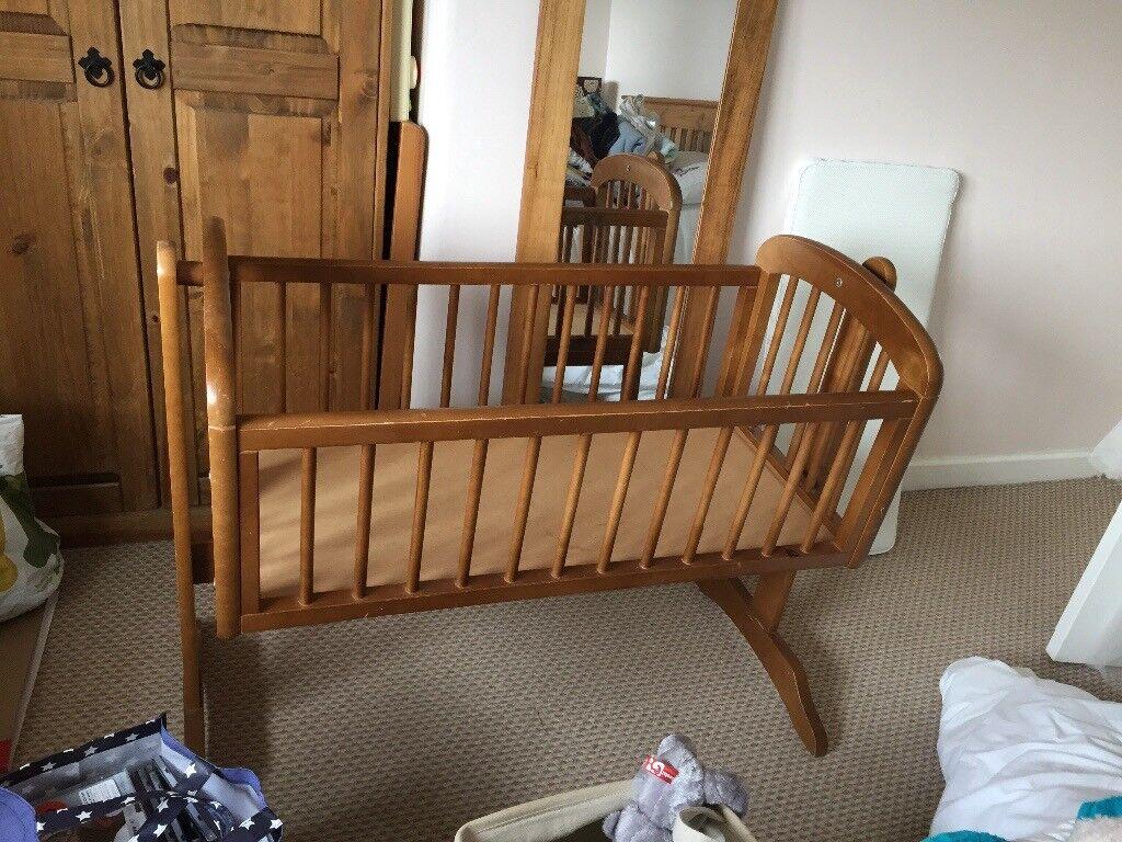 Crib - rocking crib, wooden