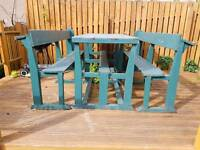 Garden Table and Benches - Made from Church Pews