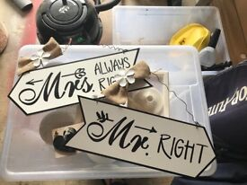 Mr and Mrs right novelty signs