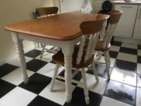 Lovely vintage Pine kitchen/dining table and three chairs