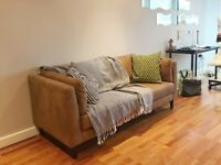 MADE large 2 seater / 3 seater Sofa, Outback Tan premium leather great condition