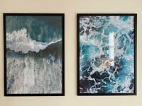 Desenio sea scape prints with black Ikea frames