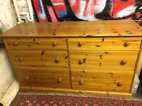 Habitat pine chest of drawers d 50, w 150, h 86cm and wardrobe