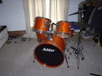 Full Drum Kit with cymbals and stands including stool.