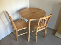 SMALL PINE TABLE AND CHAIRS