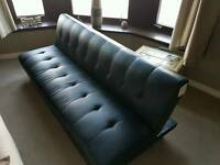 Fold down faux leather couch