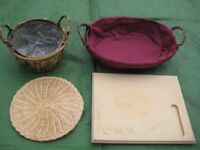 Two Wicker Work Baskets, Cheese Board and Mat for £10.00