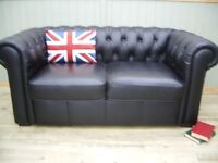 Stunning Black Leather Chesterfield 2 Seater Sofa