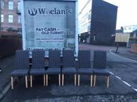 Oak wood dining room table & 6 fabric chairs £195-these chairs have been refoamed & recovered