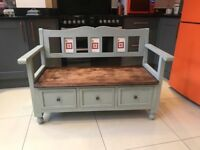 Wooden bench with working drawers