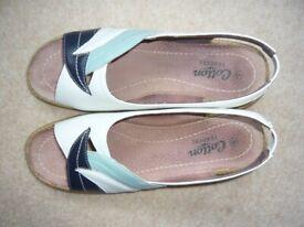 Sandals - white with navy & aqua motif