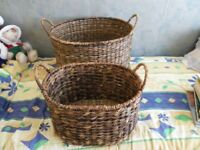 2 x reed wicker baskets with handles
