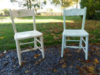 Two hand painted wooden children's chairs for sale.