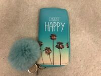 CLAIRES ACCESSORIES MINT CHOOSE HAPPY PURSE WITH MINT POM-POMS KEYRING