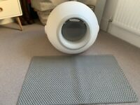 Modern Cat covered Litter Box White/Grey, grey litter mat and Vancat Litter