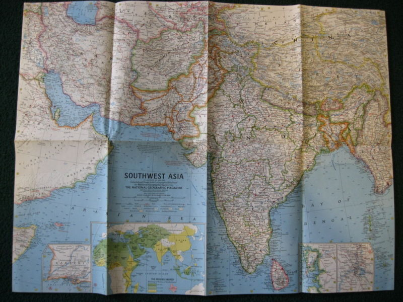 1963 SOUTHWEST ASIA NATIONAL GEOGRAPHIC MAP
