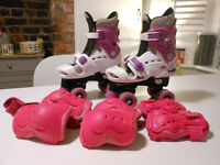 Osprey Adjustable Girls Quad Skates with Knee, Elbow and Wrist Protective Pads