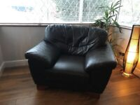 Second hand leather armchair - chocolate brown
