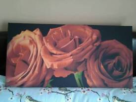 Large rose wall canvas