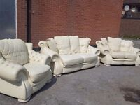 Really nice chesterfield style real cream leather large sofa suite. Can deliver