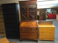 VERY NICE BOOKCASE/WRITING DESK WITH FOUR DRAWERS