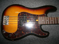 BASS Fender Squier Precision Bass , P-Bass Guitar , Made in Korea.