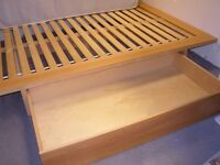 King Size Scandinavian Style Wooden Bed Frame with Large Storage Drawer