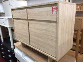 2 drawer 2 door light oak sideboard
