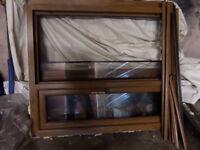 2 x double glazed PVC Oak Colour nearly new windows